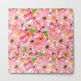 Watercolor Breezy Florals Metal Print