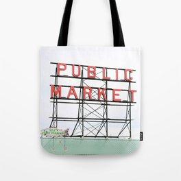 Public Market Seattle Pike Street Fish Neon Sign Northwest Washington Tote Bag