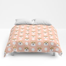 Corgi polka dots peach blush pastel pink coral welsh corgi iphone case for dog lover gifts for dogs Comforters