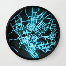 Karachi, Pakistan, Blue, White, Neon, Glow, City, Map Wall Clock