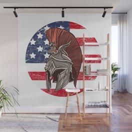 USA American Spartan  TShirt Warrior Shirt Flag Gift Idea Wall Mural