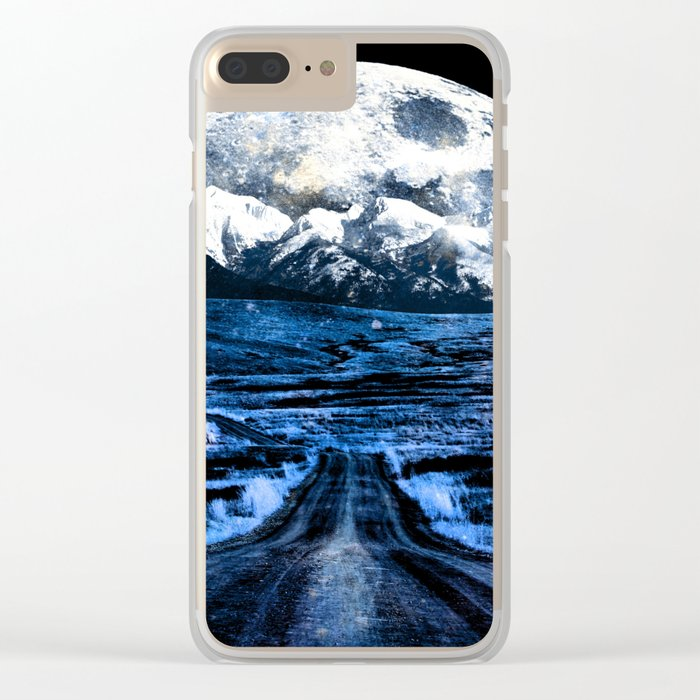 Road to Eternity (blue vintage moon mountain) Clear iPhone Case