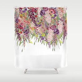 Watercolor Floral Fall Hanging Garden Shower Curtain