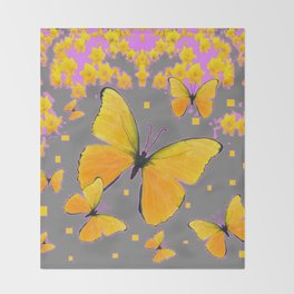 YELLOW BUTTERFLIES FLORAL PINK-GREY ART Throw Blanket