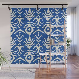 Blue Ikat Damask Print Wall Mural