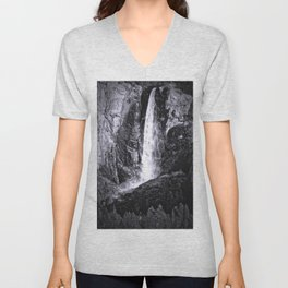 Bridalveil Falls. Yosemite California in Black and White Unisex V-Neck