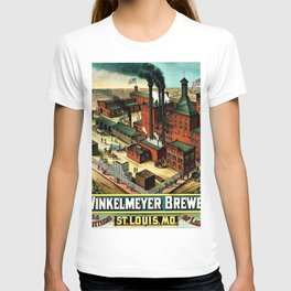 Vintage 1882 Julius Winkelmeyer Brewery St. Louis Lithograph Wall Art Advertisement Art Print T-shirt