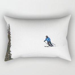 Downhill Skier - Winter Sports Scene Rectangular Pillow