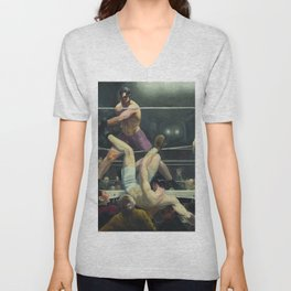 George Bellows - Dempsey and Firpo Unisex V-Neck