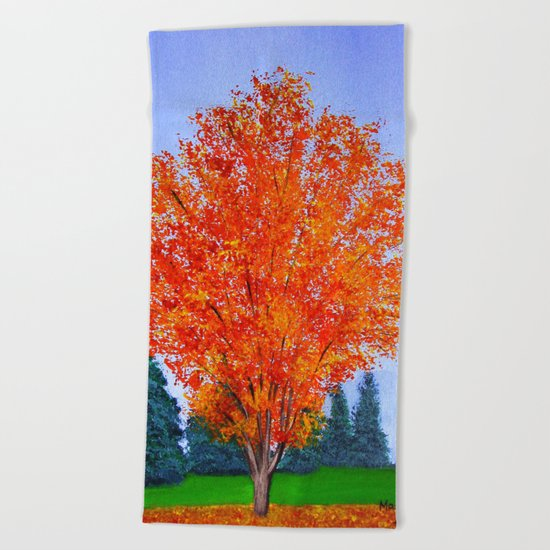 Fall tree in ND Beach Towel