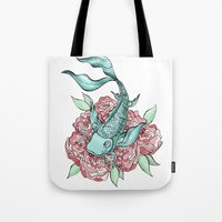 koi fish Tote Bags featuring Koi Fish by Bare Wolfe