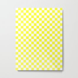 White and Electric Yellow Checkerboard Metal Print