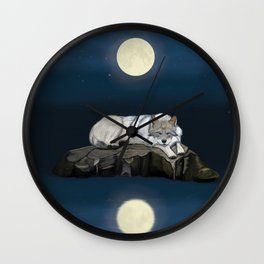 Sleeping wolf by the lake under the full moon Wall Clock
