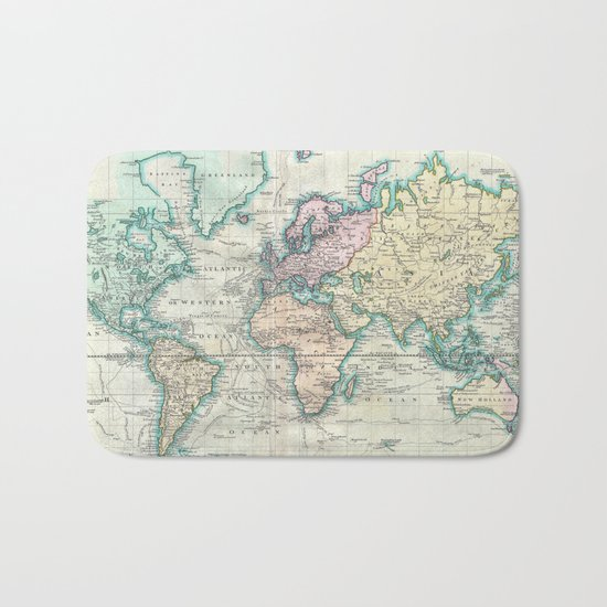 Vintage Map of The World (1801) Bath Mat