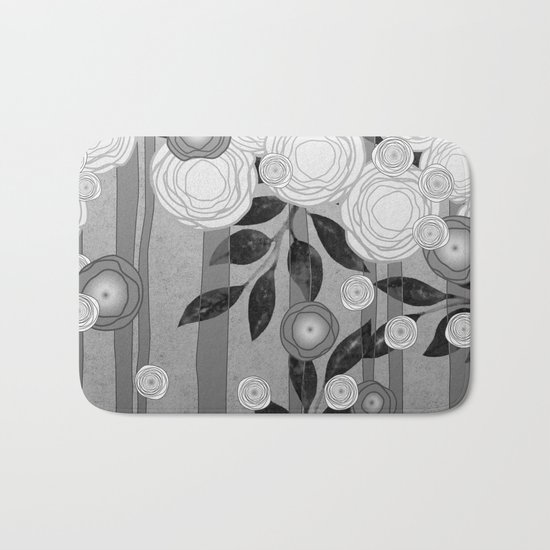 Black and White Flowers Design Bath Mat