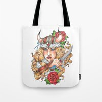 viking Tote Bags featuring Viking by Little Lost Forest