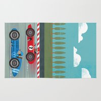 racing Area & Throw Rugs featuring Retro Racing by we are 3 fish