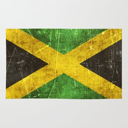 Vintage Aged and Scratched Jamaican Flag Rug
