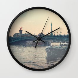 The Seine and Eiffel Tower, Vintage Styled Wall Clock