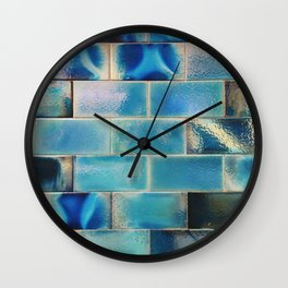 Iridescent tile wall in Lisbon, Portugal - Travel photography Wall Clock