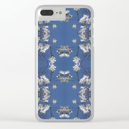 Star-filled sky (Star Magnolia flowers!) - diamond repeating pattern Clear iPhone Case