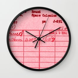 Library Card 797 Pink Wall Clock