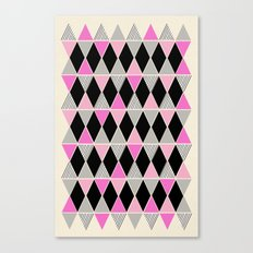 Triangles and lines (pink & grey) Canvas Print