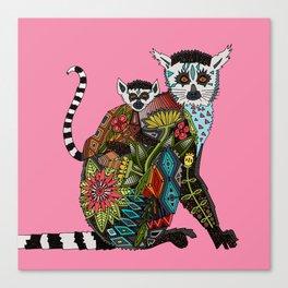 ring tailed lemur love pink Canvas Print