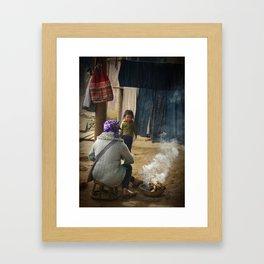 Cooking fire. Sapa, Vietnam. Framed Art Print