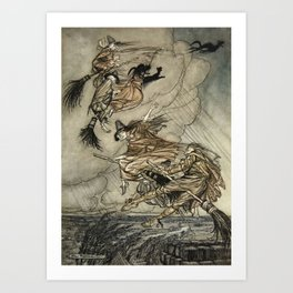 "Four Witches ""Up The Chimney"" by Arthur Rackam Art Print"