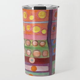 Colorful Grid Pattern with Numerous Circles Travel Mug