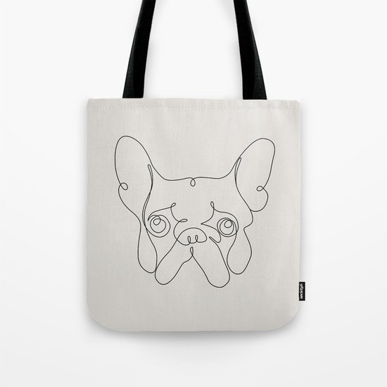 One Line French bulldog Tote Bag