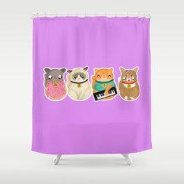 Maneki Neko Memes Shower Curtain