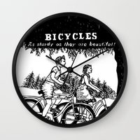 bicycles Wall Clocks featuring Bicycles by Addison Karl