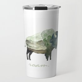 Buffalo Bison / Roam Wanderlust Adventure Travel / Rustic Woodland / Nursery / Gift / Watercolor Travel Mug