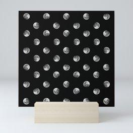 Lunar Moon - black Mini Art Print