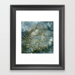MANDALA ON BLUE MARBLE Framed Art Print