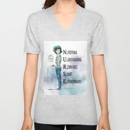 Nurse with Stethoscope Unisex V-Neck