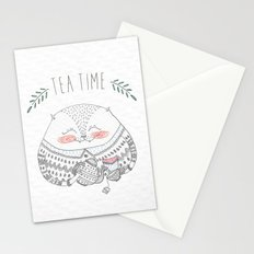 tea time cat Stationery Cards
