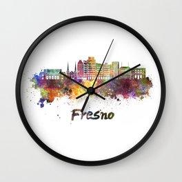 Fresno V2 skyline in watercolor Wall Clock