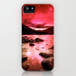 Magical Mountain Lake Red iPhone Case