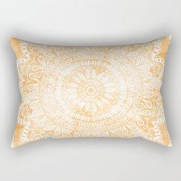 TANGERINE BOHO FLOWER MANDALA Rectangular Pillow