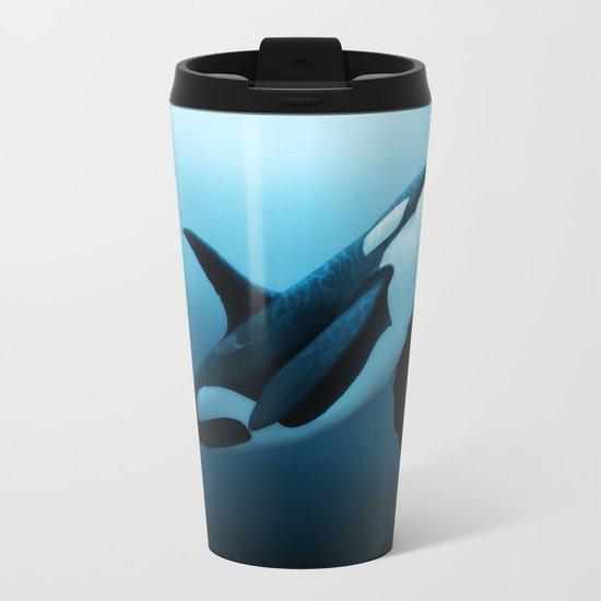"""The Dreamer"" by Amber Marine ~ Orca / Killer Whale Art, (Copyright 2015) Metal Travel Mug"