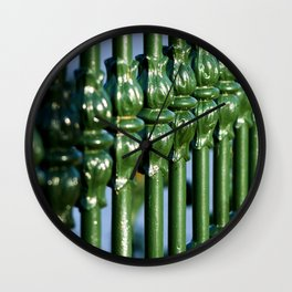 Emerald Green Gates with Tulip Detail Wall Clock