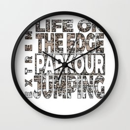 Awesome and Cool Parkour Tshirt Design Extreme Wall Clock