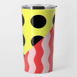Polka Waves - black and yellow polka dots and red and pink waves Travel Mug