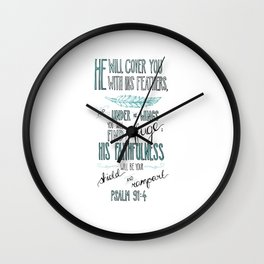 Psalm 91:4 Wall Clock