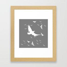 WHITE BIRDS IN FLIGHT GREY ABSTRACT MODERN ART Framed Art Print
