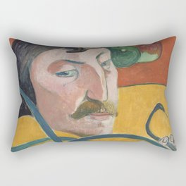 Paul Gauguin - Self-portrait with Halo (and Snake) (1889) Rectangular Pillow