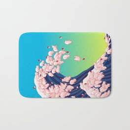 Christmas Baby Pigs The Great Wave in Blue Bath Mat